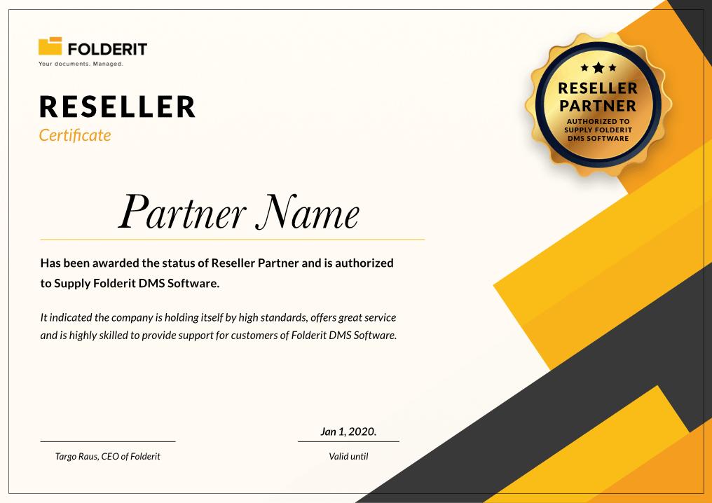 Folderit DMS Reseller Certificate