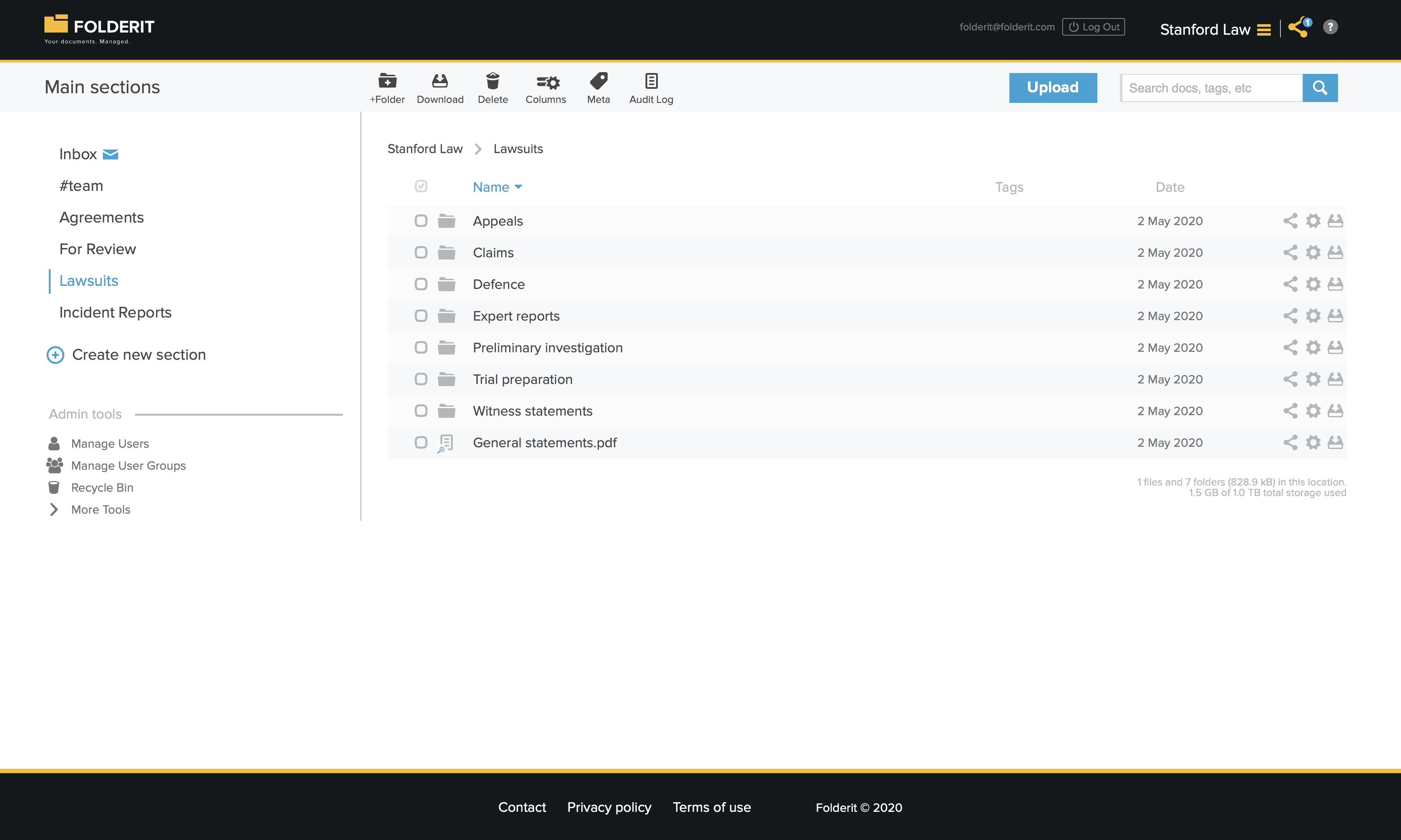 Litigation documentation management system software Folderit interface