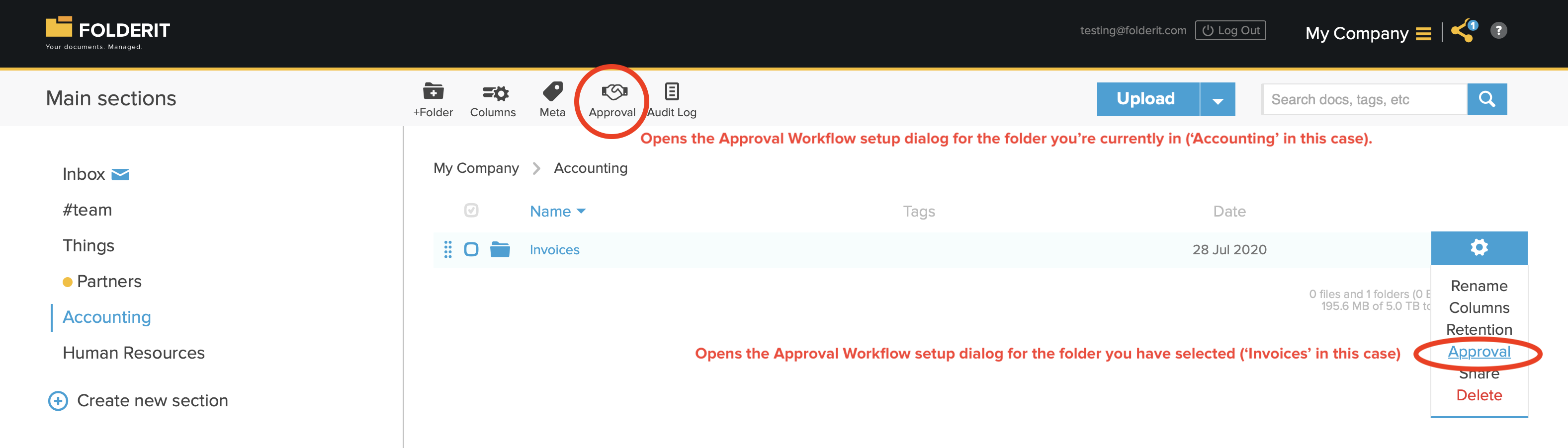 Setting up folder-level approval workflow automation
