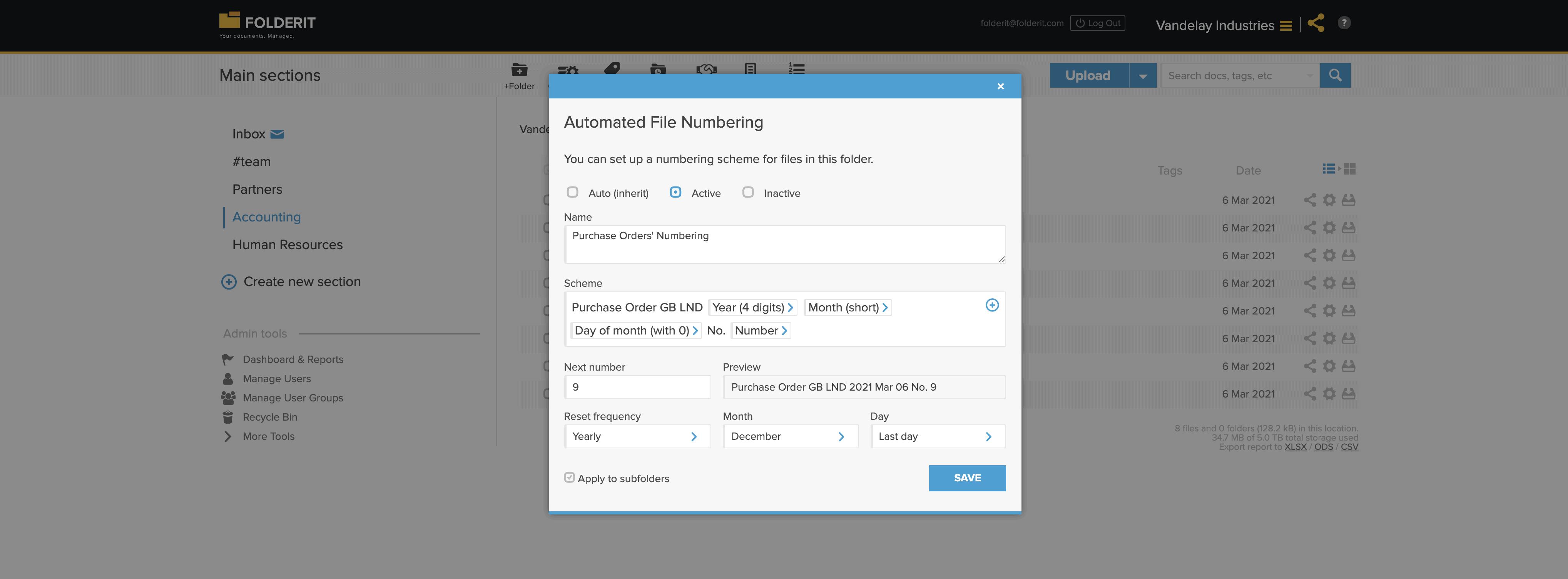 Document numbering system document control Folderit DMS