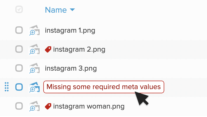 List view in Folderit DMS showing missing metadata values